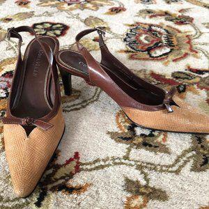 Cole Haan Brown Leather/ Tan Slingback Heels